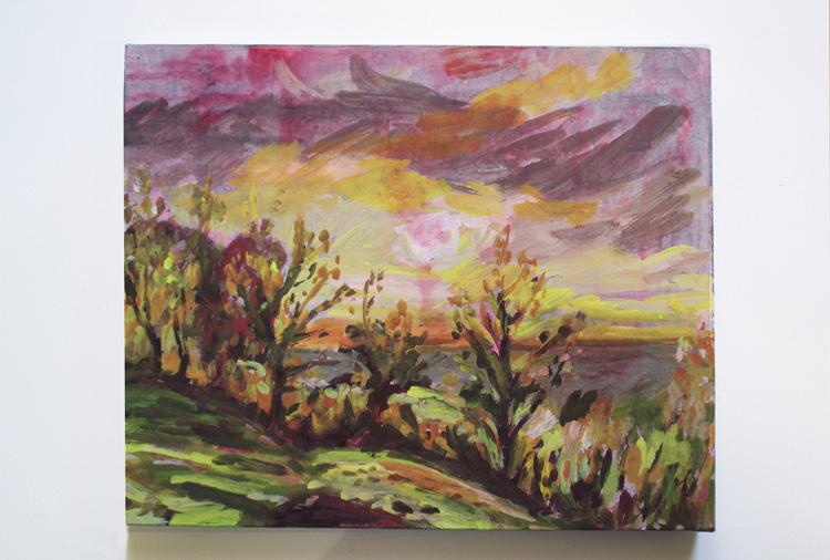 Peinture à La Détrempe Sur Carton Entoilé, 18 X 27 Cm